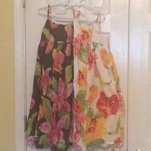 2 GAP Brown and White Floral Sundresses
